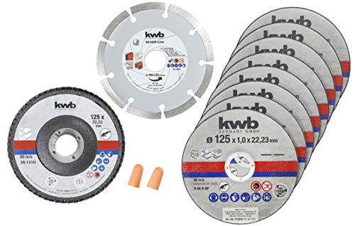 kwb 712042 Amoladora angular fina, acero inoxidable, incluye tapones para los oídos 125 x 1,0 x 22,24, corte + disco de diamante y lijado, diámetro, Ø 125 mm