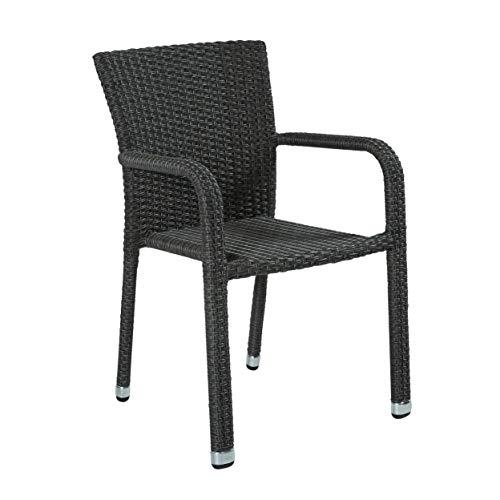 Wholesaler GmbH Stapelbarer Armlehnstuhl aus der Möbelserie Barcelona in grau mit Armlehnen exkl. Auflage für Garten, Terrasse oder Balkon - Gartenmöbel Stühle Terrassenstuhl Balkonstuhl Stuhl Gastro