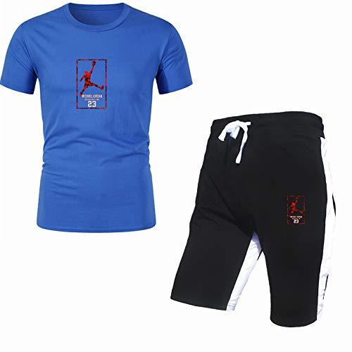 DREAMING-Camiseta estampada de 2 piezas para hombre con conjunto de pantalones cortos Traje deportivo de manga corta de algodón para hombre Top de primavera y verano XL