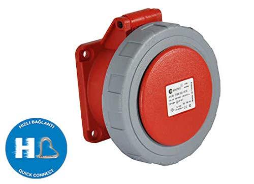 TPelectric - CEE 5x32A Stecker Kupplung Wandsteckdose Wandstecker Einbaustecker Einbausteckdose IP67 400V mit Steckklemme Quickconnect (Einbausteckdose 75mm)