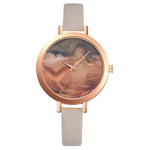 Reloj De Mujer Cinta De Cuero Reloj De Marcación Estampado Reloj Vestido De Regalo De Mujer Reloj De Cuarzo Beige