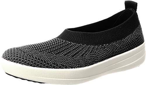 FitFlop Womens Uberknit Ballet Flats Black/Charcoal Slip-On - 8