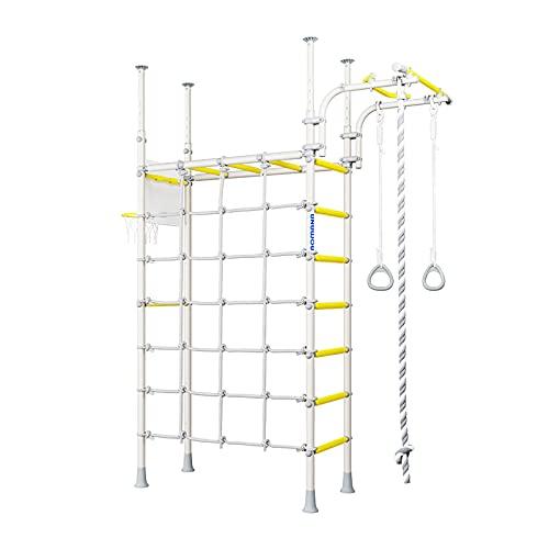 Metall Sprossenwand für Kinder Pegas schwedische Leiter druckmontiert Klimmzugstange Kletternetz Weiss-Gelb