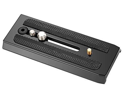 Neewer 10080975 Verbindungs Schnellspanner Schiebeblech Kamerahalterung mit 1/4/3/8 Befestigungsschrauben für Manfrotto 501HDV/503HDV/701HDV/MH055M0-Q5