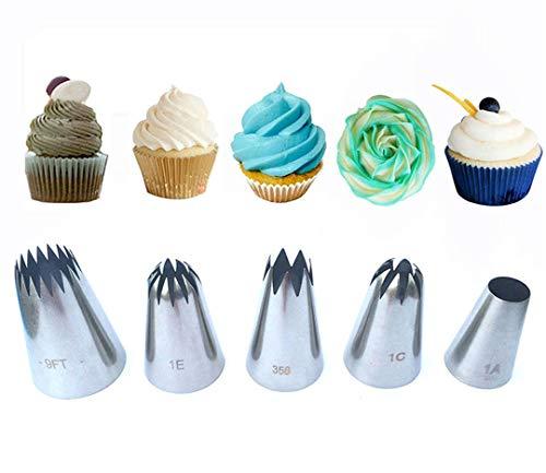 JasCherry 5 Piezas Boquillas de Tubería, Boquillas de Decoración de Tartas, Set de Boquillas de Acero Inoxidable, Set de Decoración Pastelera para Tartas, Cupcakes, Galletas de Helado