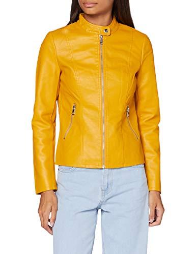 ONLY Damen ONLMELISA Faux Leather Jacket CC OTW Jacke, Golden Yellow, 38
