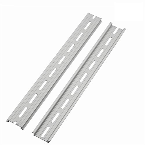 """PZRT 2-Pack Aluminum 1.1mm Thickness Slotted DIN Rail,300mm 11.8"""" Length 35mm Standard Width, for Single Phase Switch Installing Fixed Solid State Relay"""