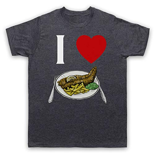 My Icon Art & Clothing I Love Fish and Chips Iconic British Dinner Herren T-Shirt, Jahrgang Schiefer, Large