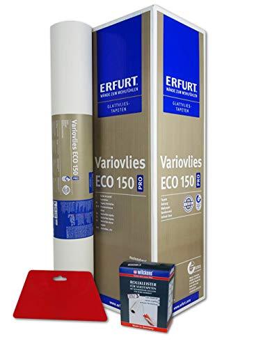WACOLIT-SET 1 Rolle 18,75m² ERFURT Eco Vlies 150g inkl. 1x Wilckens Rollkleister + Tapetenglätter, Variovlies Malervlies überstreichbare Vliestapete