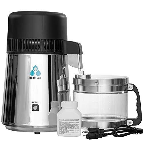 DCHOUSE 4 Liter Edelstahl-Wasserdestillierapparat mit Glasdüseneinsatz, Life Water Distillery-Wasserdestillierapparat Edelstahlboden mit Glaswasserdestillierapparat