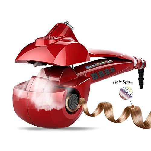 MENQANG Rizador Automático, Rizador Vapor Cerámico con tres temperaturas y tres direcciones de rizado, nutre el cabello y crea rizos perfectos, adecuados para todo el cabello. (Rojo)