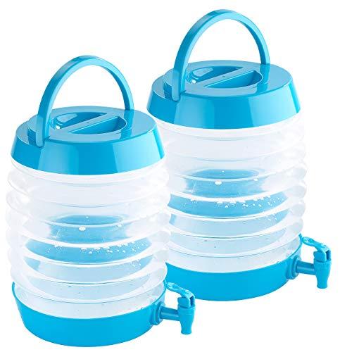PEARL Camping Wasserspender: 2er Pack Faltbares Fässchen, Auslaufhahn, Ständer, 7,5 Liter (Party- & Camping Getränkespender)