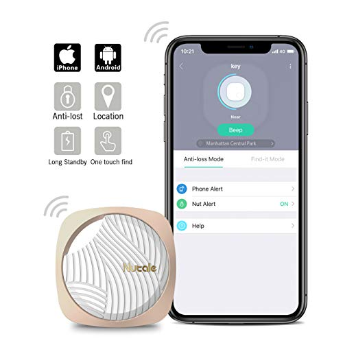 Nutale Focus Bluetooth Key Finder Smart Tracker – Kids, Pet, Dog, Car Key, Wallet Tracker with Phone App – Key Locator Tracking Device with Anti-Lost Alarm Reminder, 150 ft. Range (Gold, 1 Pack)
