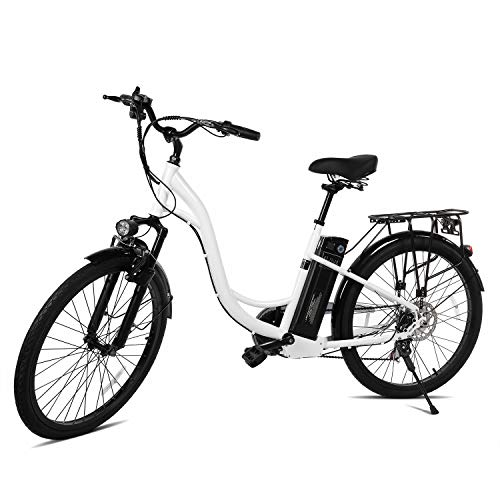 XPRIT 26'' Electric Bike, LCD Display, Shimano Shifter, Dual Brake,Full Throttle/Pedal Assist (White City Bike)