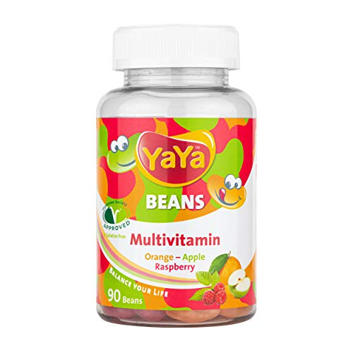 YaYa BEANS MULTIVITAMIN Orange Apple Raspberry ZINC and Iodine Gelatine Free Vegetarian Society Approved Awesome Power Packs for Children and Adults