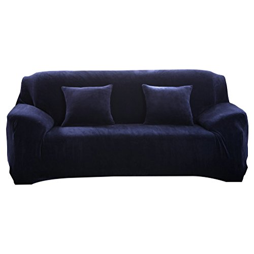 Vorcool - Fodera elasticizzata per divano a 3 posti in poliestere estensibile, antiacaro, colore: grigio  , Poliestere, Bleu Foncé, M