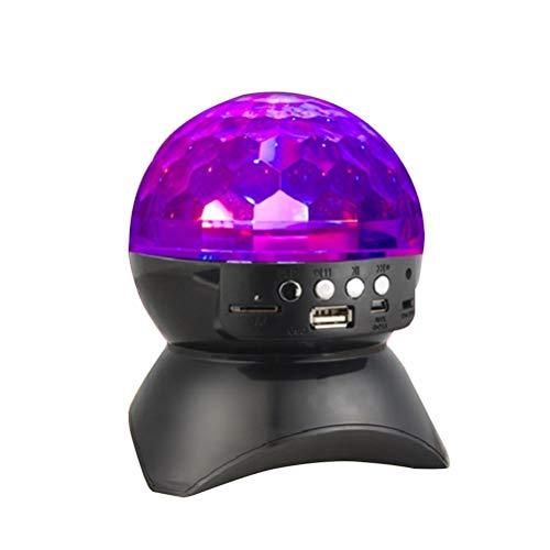 Artibetter Mini altavoces para discoteca DJ de luz que giran altavoz inalámbrico con luz de bola LED (negro)