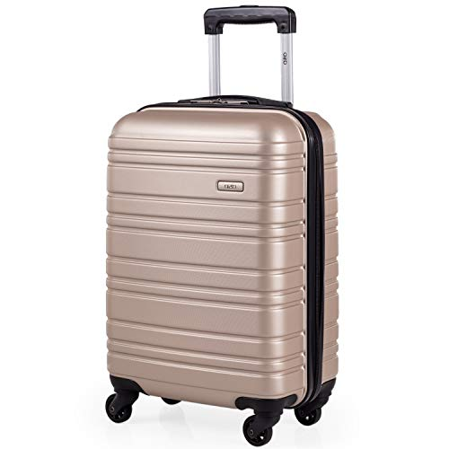ABS Hard Shell 21 Inch Suitcase - Travel Luggage by A2B with 4 Spinner Wheels | Telescopic Drag Handle | Hard Sided Suitcases Lightweight Fits into Cage 56x45x25 (Champagne, Small)