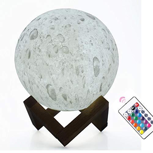 MAGICE LED Télécommande Lumière Lunaire Veilleuse 3D 16 Couleurs Lampes De Chevet pour Enfants Décor Cadeau/Cadeau De Noël - 1W,E15cm