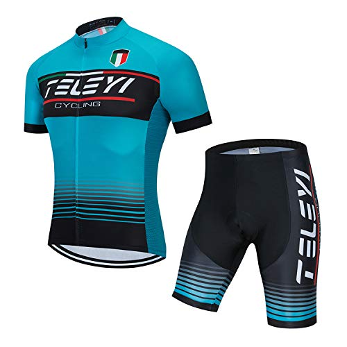 Men Cycling Jersey Set Bike Short Sleeve Shirt Tops Reflective,Quick Dry+5D Padded Shorts S-3XL