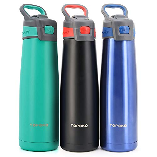 TOPOKO AUTOFLIP Straw Lid Water Bottle Stainless Steel Double Wall Vacuum Insulated Sweat Proof Leak Proof Beverage Taking Aid with Carrying Handle-25 OZ-Mint