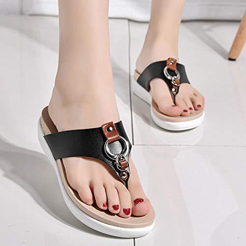 lxylllzs Playa y Piscina Unisex Zapatos,Zapatillas con Hebilla Redonda de un Pedal, Chanclas Antideslizantes cómodas de Fondo Suave-Negro_39,Sandalias Zapatos de Playa y Piscina,
