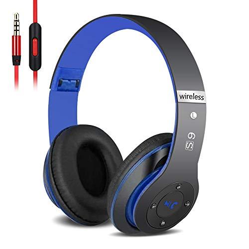 6S Over-ear Wireless Cuffie, Cuffie Wireless Bluetooth Cuffie Wireless Stereo Pieghevoli ad Alta Fedeltà, Microfono Incorporato, Micro SD/TF, FM (per iPhone/Samsung/iPad/PC) (Nero blu)