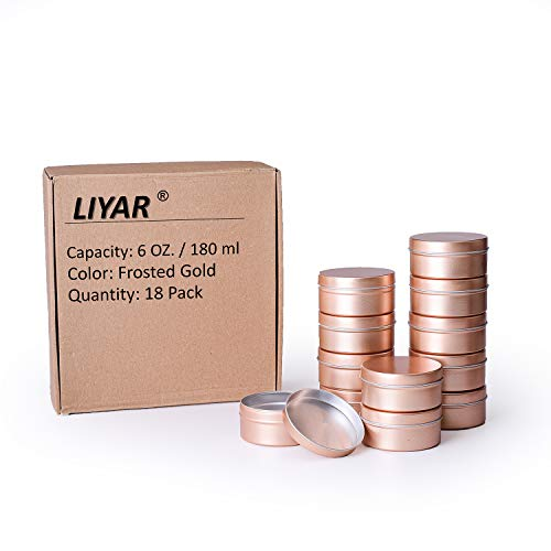 LIYAR 6oz Tin Aluminum Tins Container Round Tin Cans Candle Container with Slip-On Lid for Salve Spices or Candies18 PackFrosted Gold