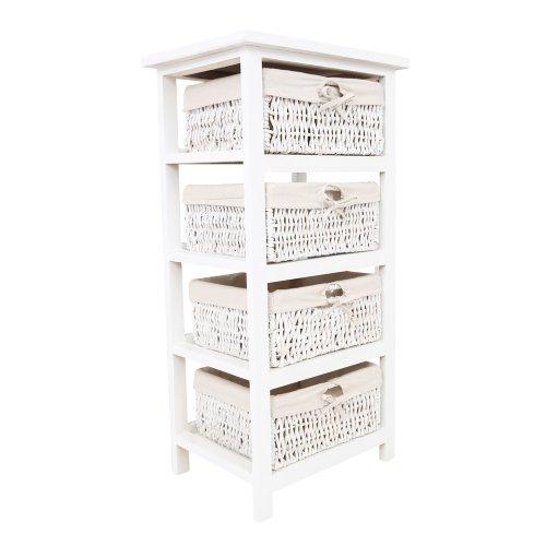 Premier Housewares Meuble de rangement 4 paniers en osier Structure en bois Blanc 82 x 40 x 32