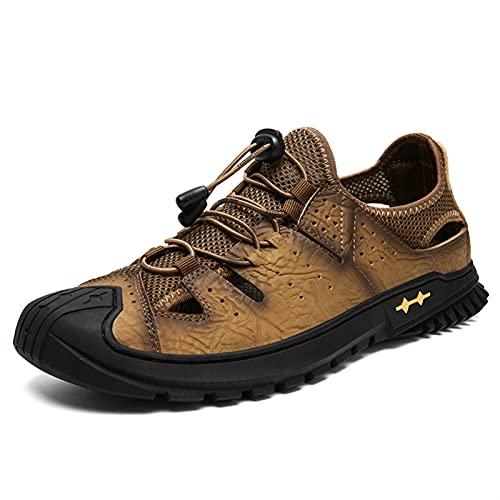 ZH~K Sandalia de Senderismo para Hombre Casual Hecho a Mano Corte de Zapatos con Costuras de Cuero Tela de Malla de Malla Sin Punta Zapatillas Bungee Lacing Brown (Color : Light Brown, Size : 38 EU)