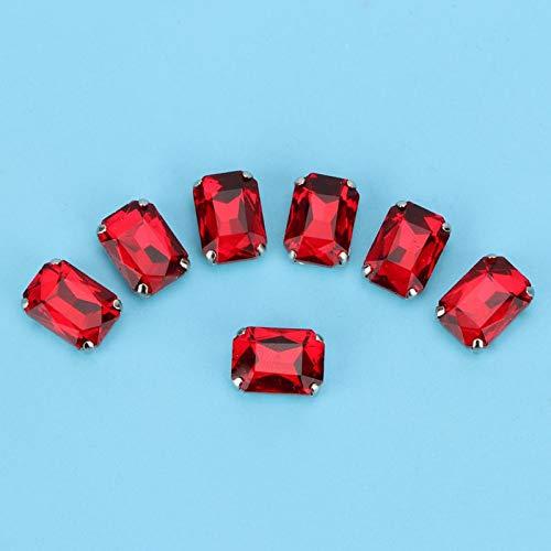 Base de cobre rectangular coser en adornos de diamantes de imitación garra diamantes de imitación zapatos broches para ropa bolsa zapatos decoración(Scarlet)