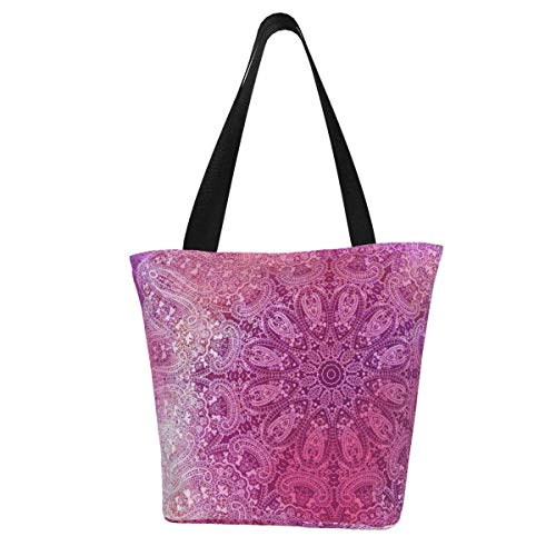 Bolsa de lona personalizable, toalla de té con mandala, color rosa, lavable, bolsa de hombro, bolsa de compras para mujer