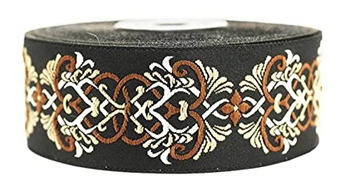 11 Yard 1.37 inch Celtic Knot Brown Jacquard Ribbon Trim, Embroidered Sewing Band, Drapery for Curtain 35976