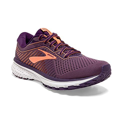 Brooks Womens Ghost 12 Running Shoe - Jewel/Grape/Cantaloupe - B - 8.0