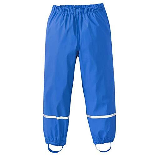 Pantaloni Impermeabili Bambino, Treer Unisex Pantaloni da Pioggia Trekking Traspirante Antivento Pantaloni di Fango per Ragazzi e Ragazze Rain Pants (Blu,86cm)