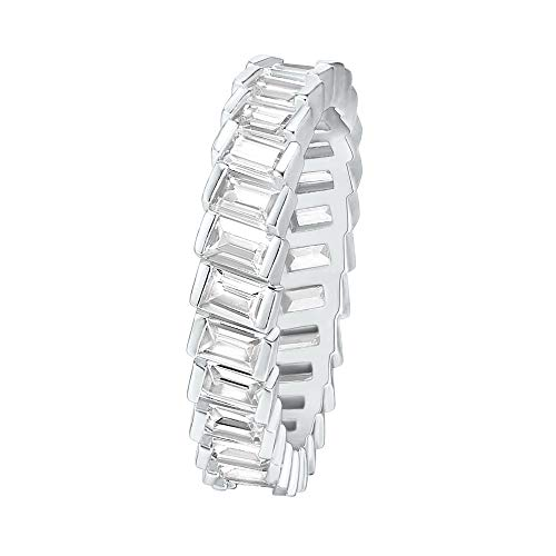 PAVOI 14K Gold Plated Cubic Zirconia Baguette Cut Eternity Bands White Gold for Women Size 9