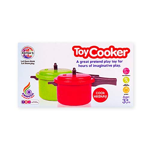 Ratna's Toy Cooker Miniature Household Kitchen Appliances Pretend Play Toy for Kids (Red)