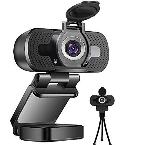 Webcam HD 1080p,cámara Web USB para Ordenador con micrófono y trípode,computadora portátil,cámara de vídeo Full HD,Pantalla Ancha de 110 Grados para transmisión Profesional,grabación,Juegos,con Tapa.