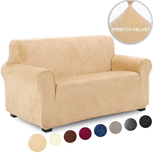 TIANSHU Funda de Sofá 2 Plazas Terciopelo,Cubierta Suave del sofá de la Felpa del Terciopelo para,Cubiertas Elegantes de los Muebles (2 Plazas,Amarillo ámbar)