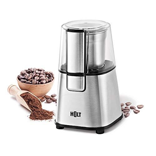 HOLT HT-CGR-003 Elektrische Kaffeemühle Gewürzmühle Edelstahl-Körper Edelstahl Schüssel Messer/Kaffeebohnen Nüsse Gewürze Getreide Mühle