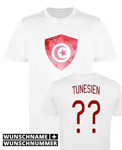 Comedy Shirts - Tunesien Trikot - Wappen: Groß - Wunsch - Jungen Trikot - Weiss/Rot Gr. 152-164
