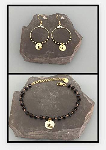 Goldstern-Schmuckset, Sternarmband und Kreolen, Frauengeschenkidee, Schmuckgeschenke, Goldschmucksachen, Goldbänder, schwarzes Perlenarmband