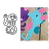 Lovejoy Store Metall-Stanzformen | Stanzformen | Seepferdchen Octopus Stanzformen DIY Scrapbooking Papierkarten Foto Schablone für Weihnachten Thanksgiving Geburtstag Geschenk, Silber
