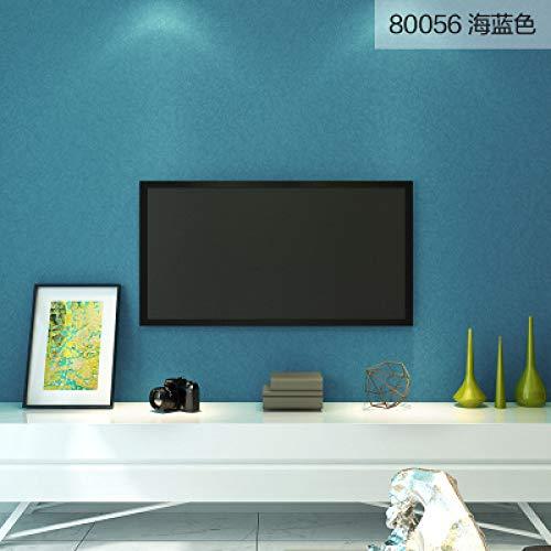 Einfache Seidentapete einfarbig TV-Hintergrundbild blau grün Wohnzimmer Schlafzimmer 80056 Seeblau