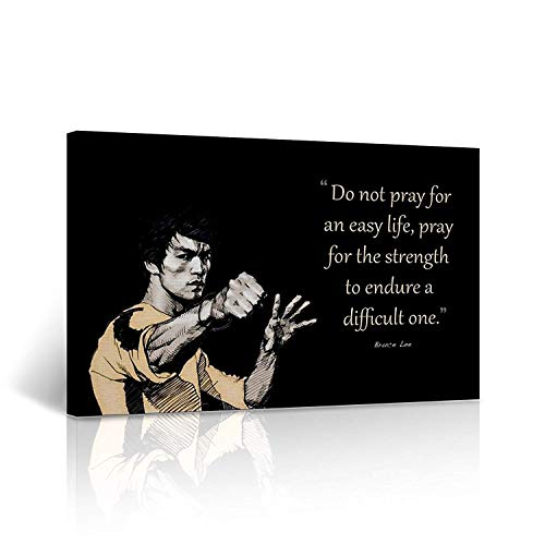 LB31 Bruce Lee Canvas Print Prey for The Strength Quote Inspirational Motivational Wall Art Black and White Wall Art Home Decor (8x12inch)
