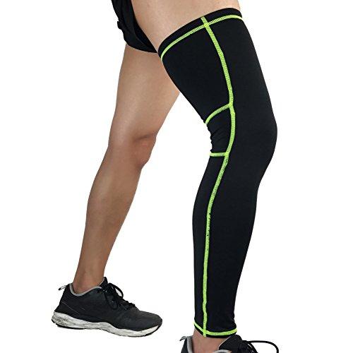 Leezo 1pc Compression Long Leg Ärmel Knie Unterstützung Brace Guard für Outdoor Fitness Sport Fußball Basketball Radfahren Laufen Gehen und Knie Sicherheit