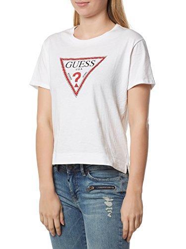 Guess SS RN Triangle Studs Tee T-Shirt, Bianco (True White), Small (Taglia Produttore:S) Donna