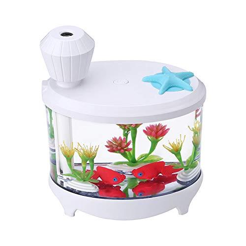 MADHEHAO Novel Fish Tank LED Night Light Household Air Humidifier Aquarium Small Cylinder Air Purifier Misting Maker Lamp High Capacity Sprayer USB Mini Fresh Filter led light