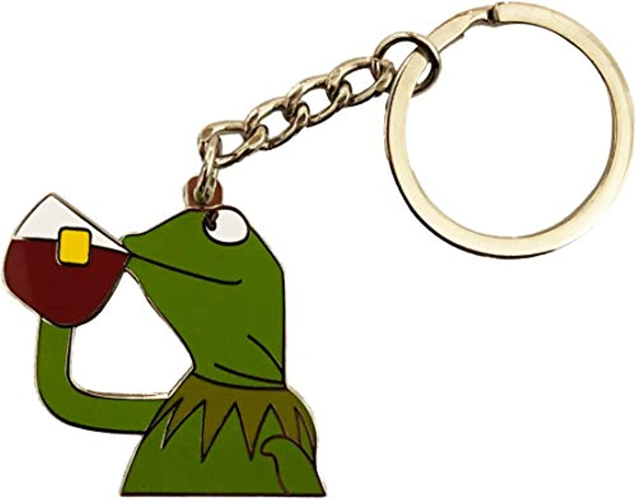 Balanced Co. Kermit None of My Business Keychain Kermit Keychain Kermit Sipping Tea Key Chain