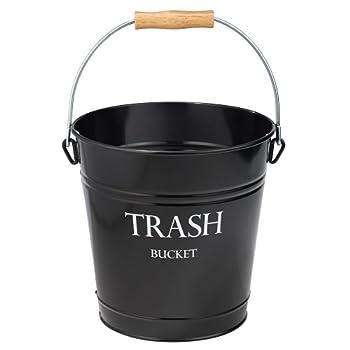 iDesign Pail Metal Wastebasket Trash Garbage Can for Bathroom Bedroom Home Office Kitchen Patio Dorm College Set of 1 Black,862